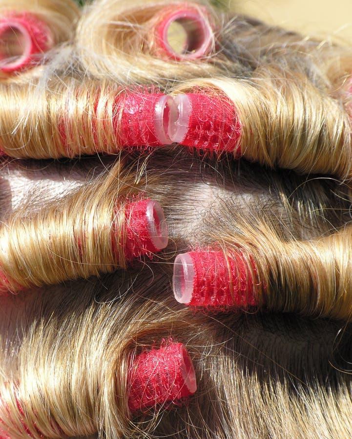 волосы curlers стоковые фотографии rf