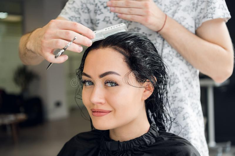 Волосы ` s женщины вырезывания парикмахера в салоне, усмехаясь, вид спереди, конце-вверх, портрете стоковое изображение rf