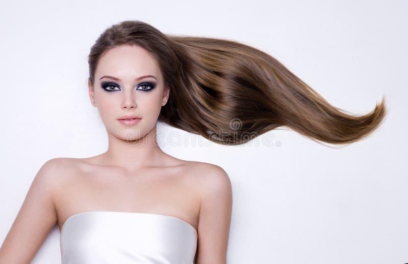 волос женщина длиной ровная прямая стоковые изображения
