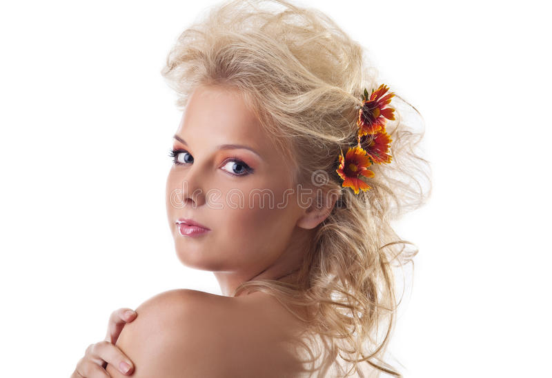 волос цветка красотки женщина портрета белокурых нагая стоковая фотография rf