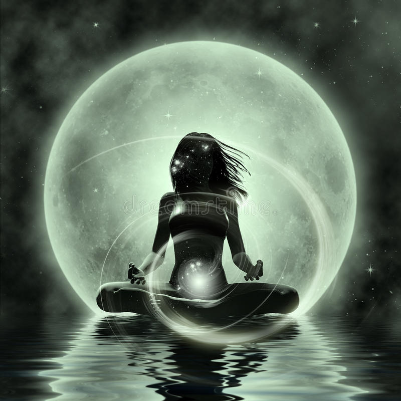 Волшебная йога - раздумье лунного света иллюстрация вектора