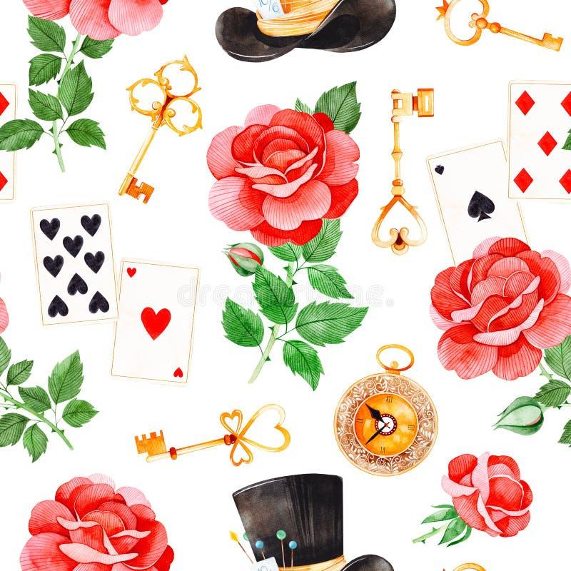 Волшебная картина с симпатичными розами, играя карточками, шляпой, старыми часами и золотыми ключами бесплатная иллюстрация