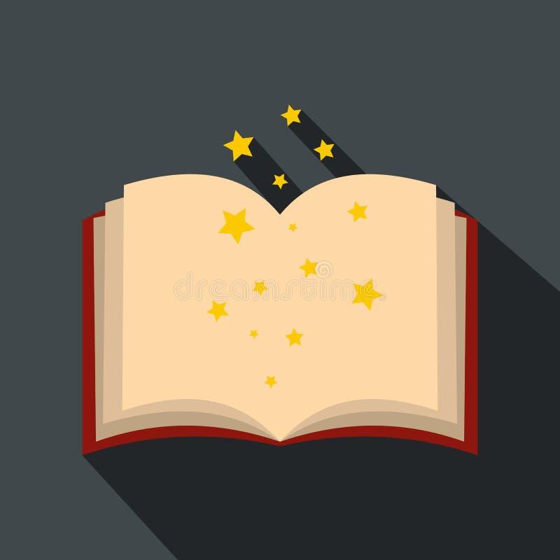 Волшебная книга произношений по буквам раскрывает плоско иллюстрация вектора