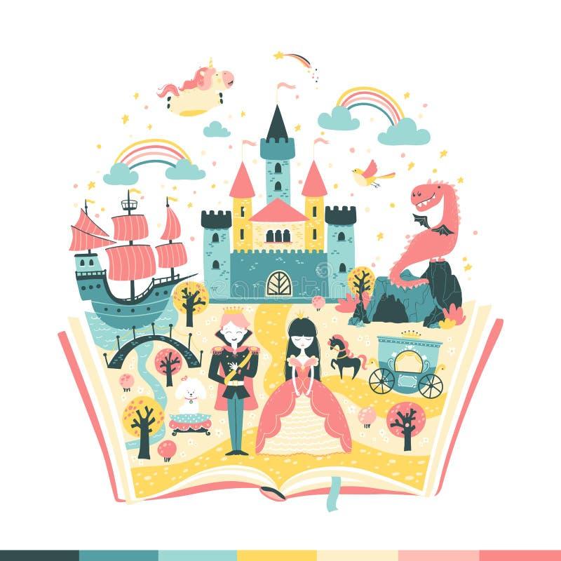 волшебная книга - сказка История принцессы и принца магическое царство Ветоная иллюстрация в простой руке иллюстрация штока