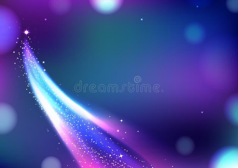 Волшебная комета летая, звезды фантазии с линией накаляя иллюстрацией кривой вектора предпосылки конспекта кабеля иллюстрация вектора