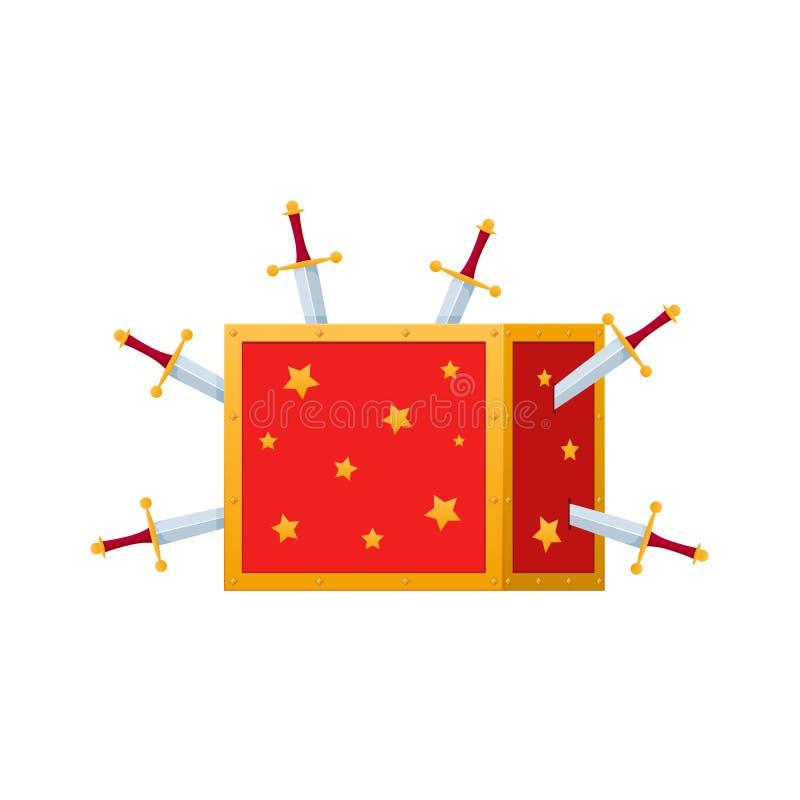 Волшебная коробка, хобот для волшебных фокусов, волшебная выставка иллюстрация штока