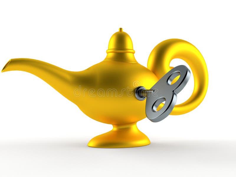Волшебная лампа с ключом clockwork иллюстрация вектора