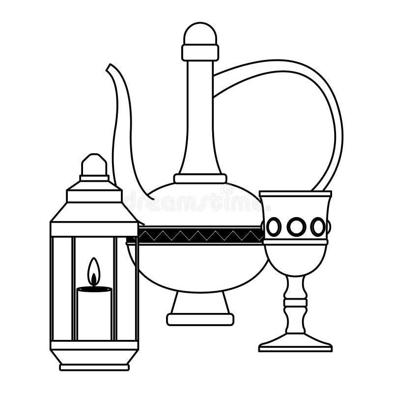 Волшебная лампа с роскошным кубком и фонарик со свечой в черно-белом иллюстрация штока