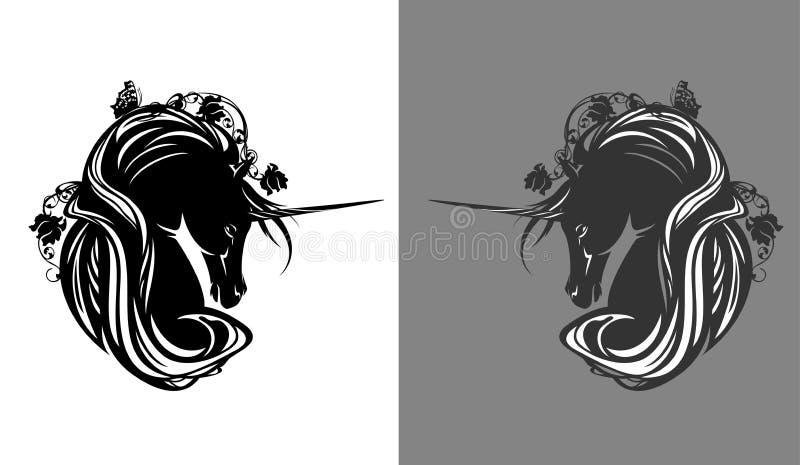 Волшебная лошадь единорога среди дизайна вектора цветков бесплатная иллюстрация