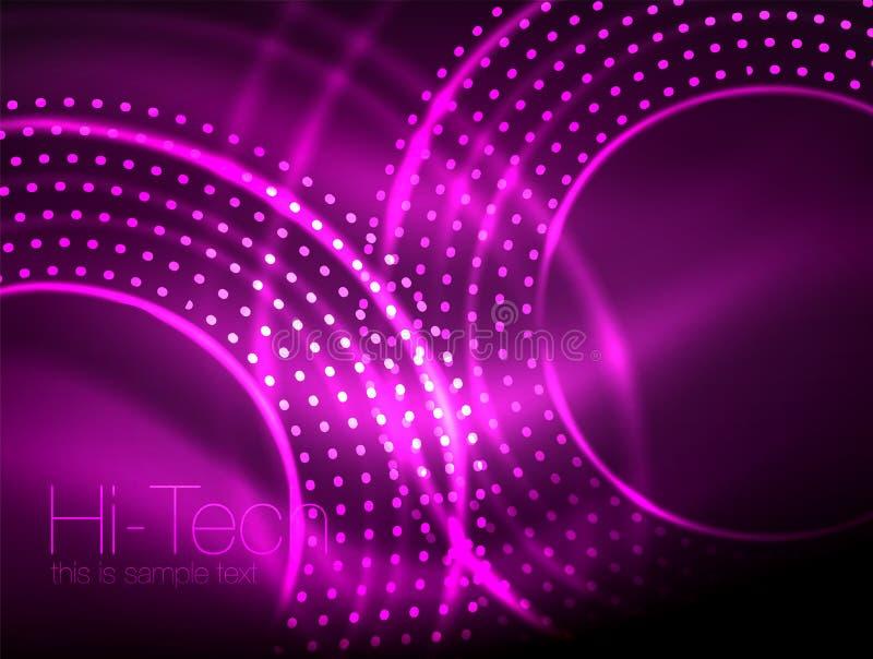 Волшебная неоновая предпосылка конспекта формы круга, сияющий шаблон светового эффекта для знамени сети, дело или технология иллюстрация вектора