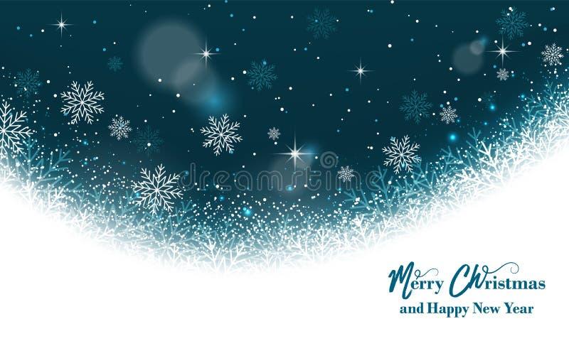 Волшебная поздравительная открытка рождества Предпосылка с снежинками, ярким блеском и звездами бесплатная иллюстрация