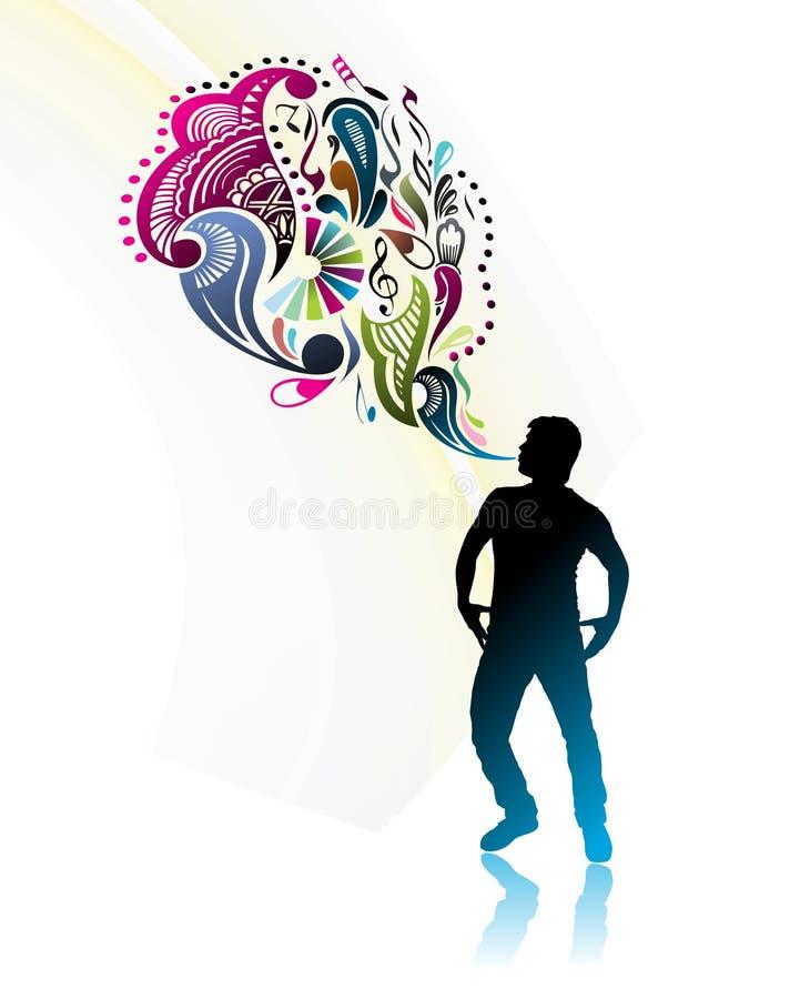 волшебная сила человека иллюстрация вектора