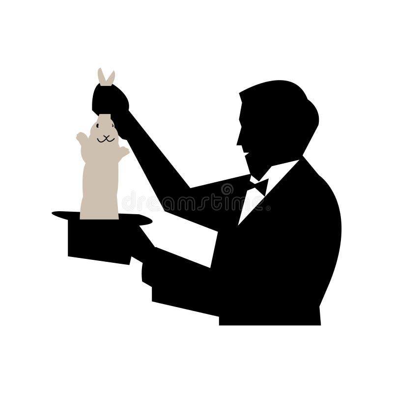 Волшебник вытягивая кролика из шляпы Иллюстрация вектора ...