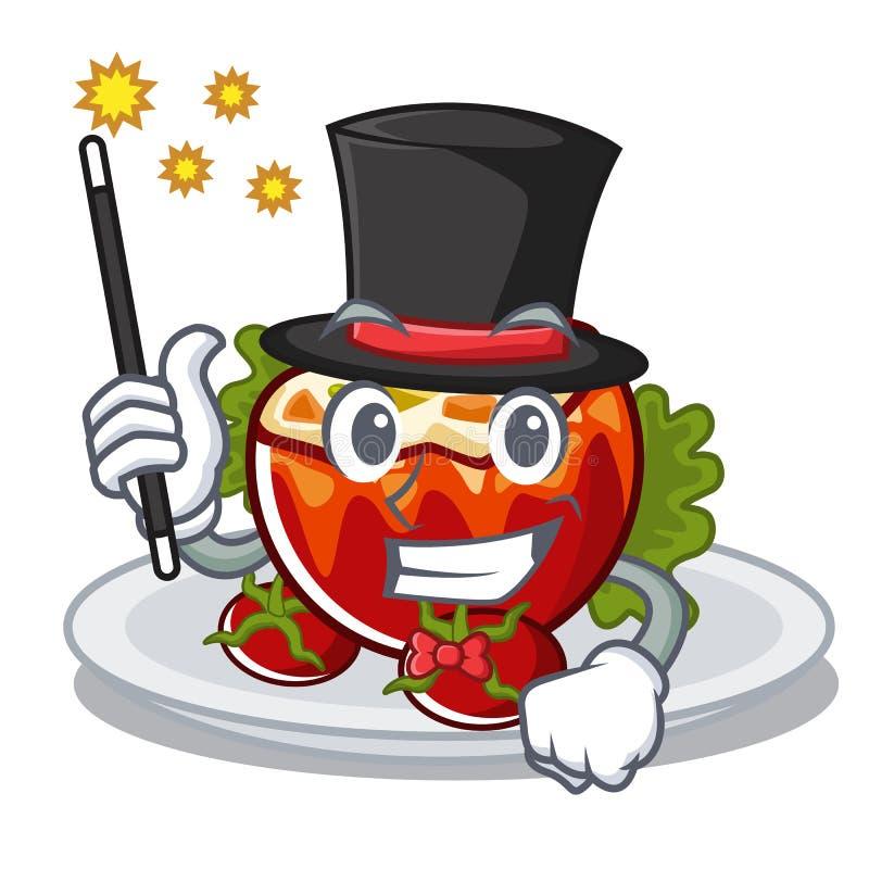 Волшебник заполнил томаты в форме мультфильма бесплатная иллюстрация
