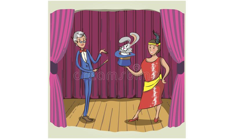 Волшебник и его ассистентская девушка стоя с усмехаясь сторонами Mou иллюстрация вектора