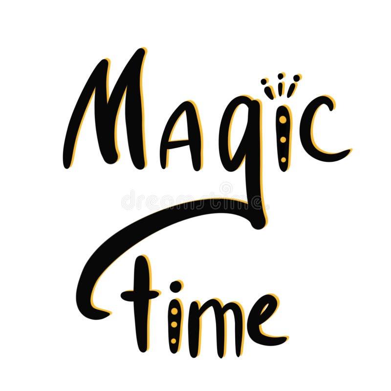 Волшебное время Декоративная надпись Черный и желтый помечая буквами состав изолированный на белой предпосылке бесплатная иллюстрация