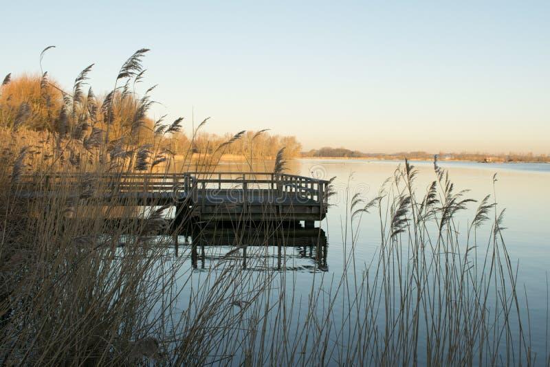 Волшебное в воскресение утром на озере стоковая фотография