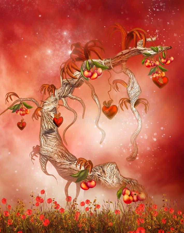 Волшебное дерево с сердцами и персиками бесплатная иллюстрация
