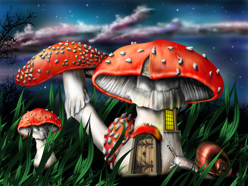 волшебные грибы иллюстрация штока