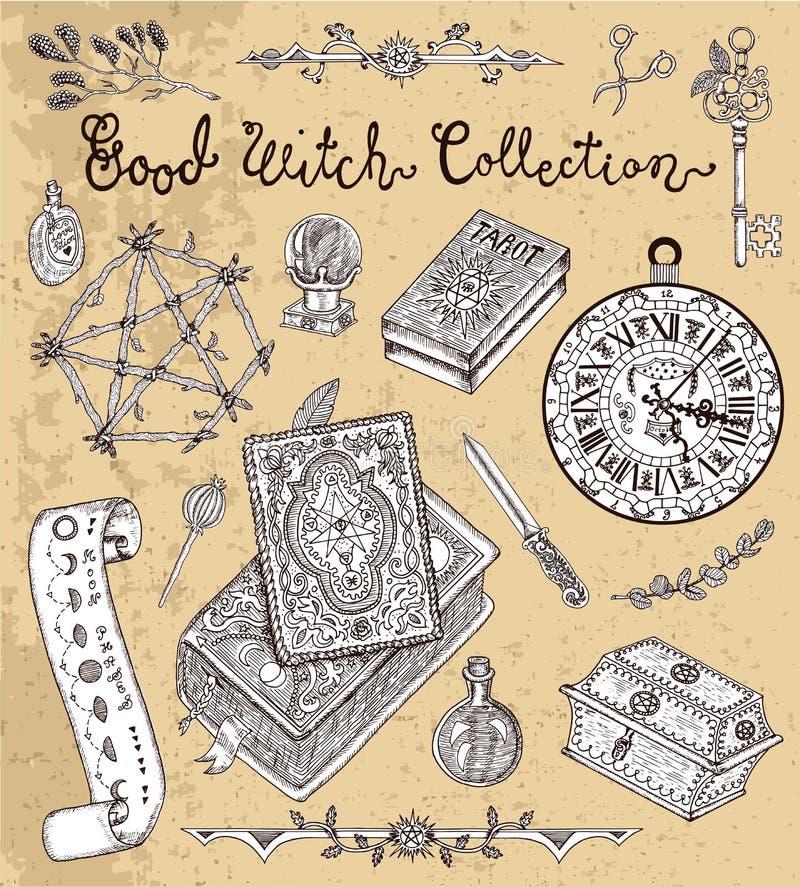 Волшебные объекты на хеллоуин - пентаграмма, злая книга, карточки tarot иллюстрация вектора