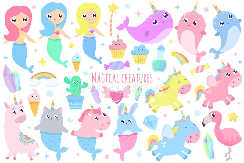 Волшебные твари Narwhal, русалка единорога, русалка зайчика, кот m стоковые фотографии rf
