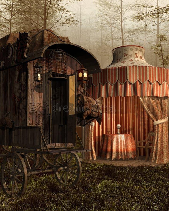 Волшебные шатер и тележка иллюстрация штока