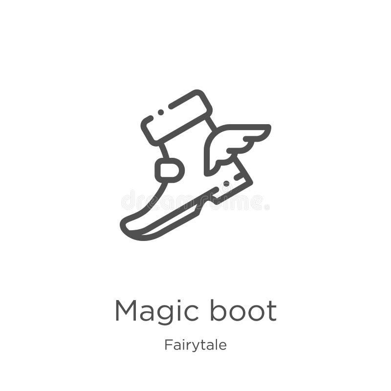 волшебный вектор значка ботинка от собрания сказки Тонкая линия волшебная иллюстрация вектора значка плана ботинка План, тонкая л иллюстрация вектора