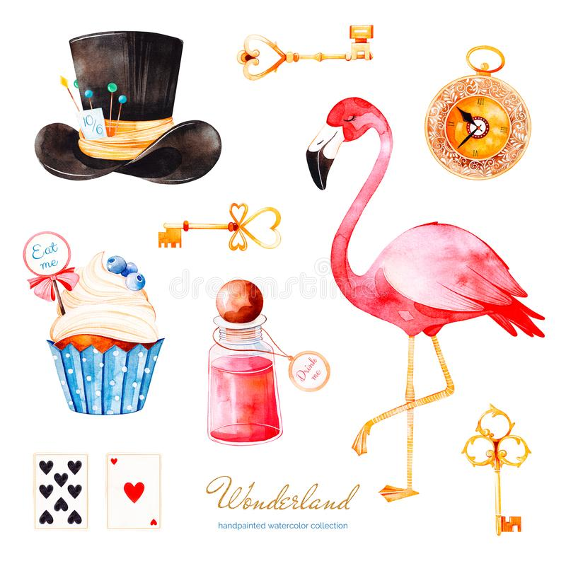 Волшебный комплект акварели с пирожным и бутылкой с ярлыком с текстом, золотыми ключами, играя карточками, хронометрирует бесплатная иллюстрация