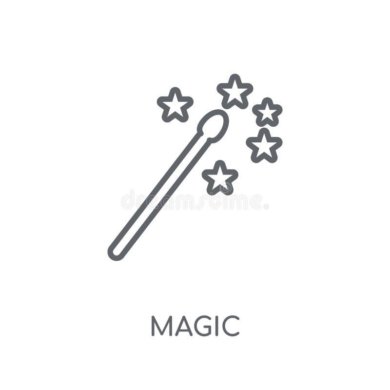 Волшебный линейный значок Концепция логотипа современного плана волшебная на белом ба иллюстрация штока