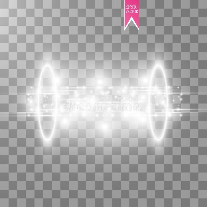 Волшебный портал фантазии Футуристический teleport Световой эффект Белые свечи лучей сцены ночи с искрами на a иллюстрация штока