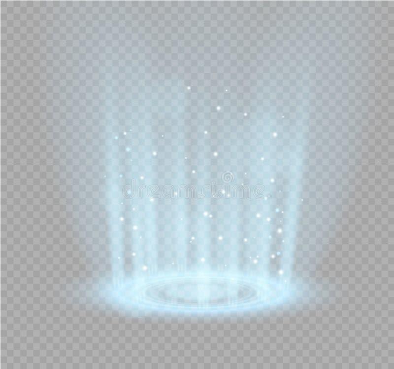 Волшебный портал фантазии Футуристический teleport Световой эффект Световые лучи сцены и искр ночи на прозрачном иллюстрация штока