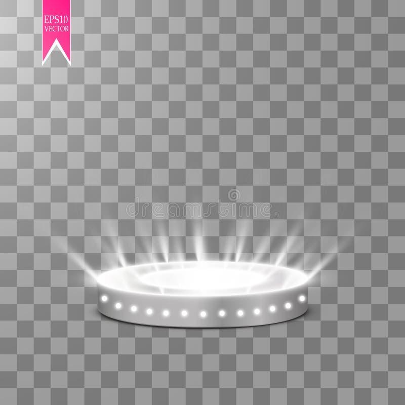 Волшебный портал фантазии Футуристический teleport Световой эффект Световые лучи сцены и искр ночи на прозрачном бесплатная иллюстрация