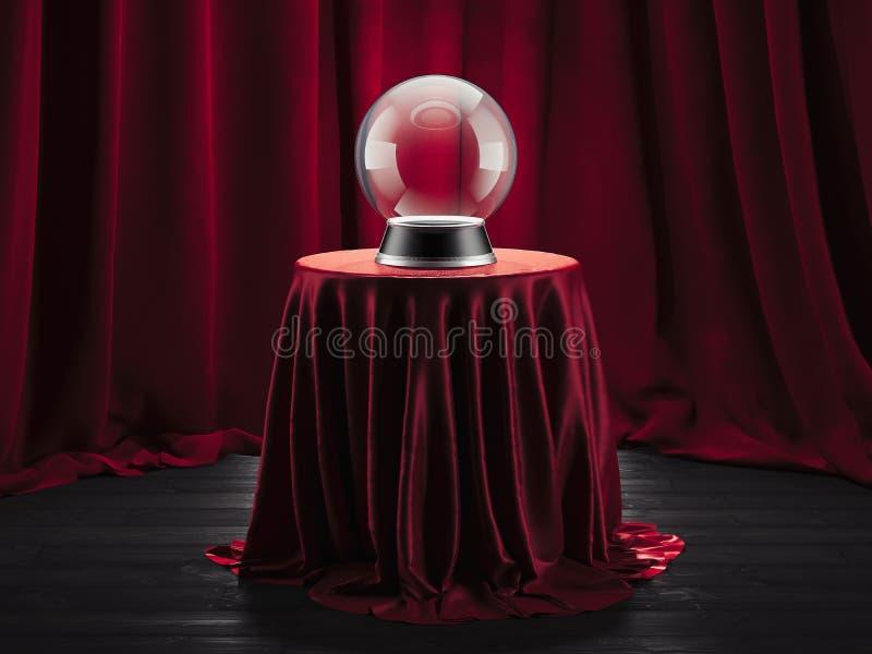 Волшебный рассказчик удачи шарика на таблице покрыл красную ткань, перевод 3d стоковая фотография rf