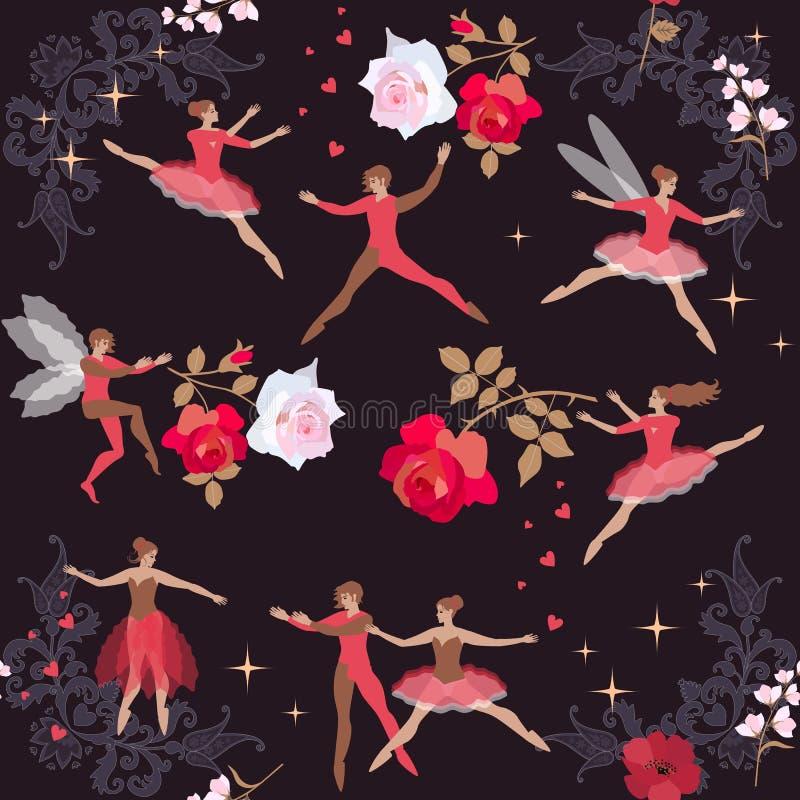 Волшебный танец в ночи лета Красивые феи и эльфы с цветками Шаблон для поздравительных открыток, плакатов, крышек вектор бесплатная иллюстрация