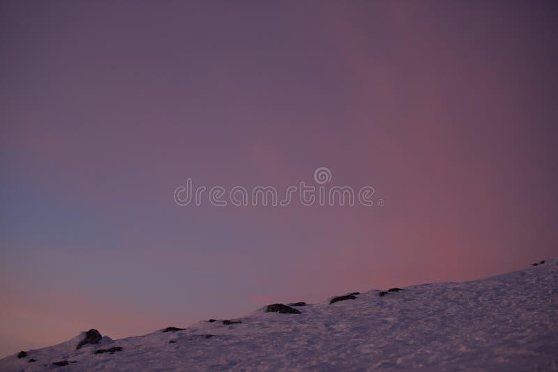 Волшебный туман вокруг Розовое небо, идет снег совсем вокруг, красота лыжного курорта стоковые изображения