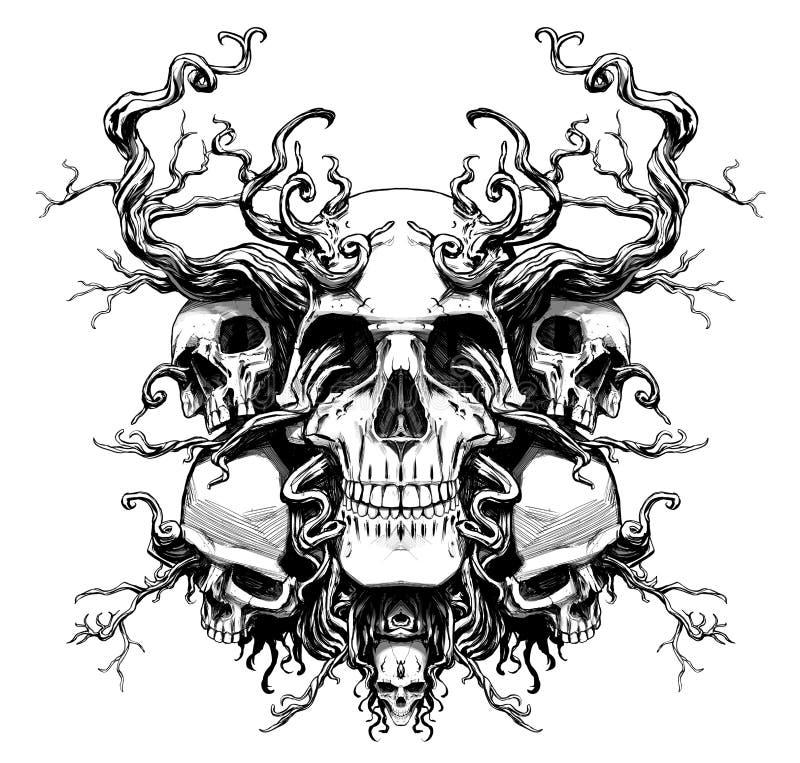 Волшебный череп с корнями иллюстрация вектора