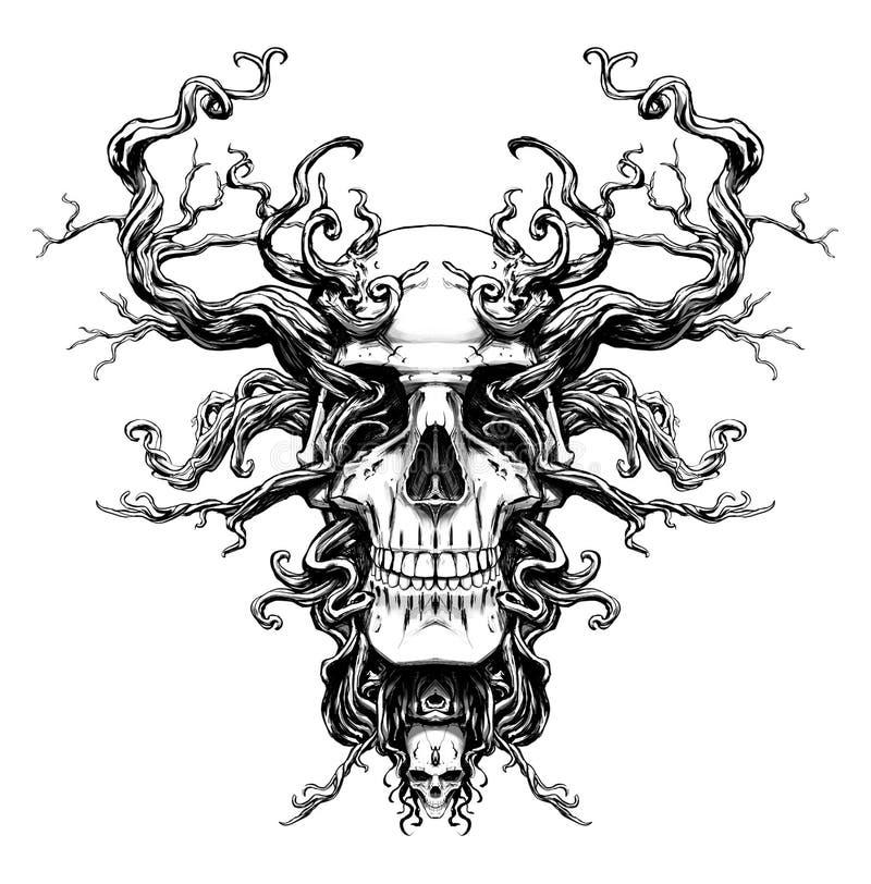 Волшебный череп с корнями бесплатная иллюстрация