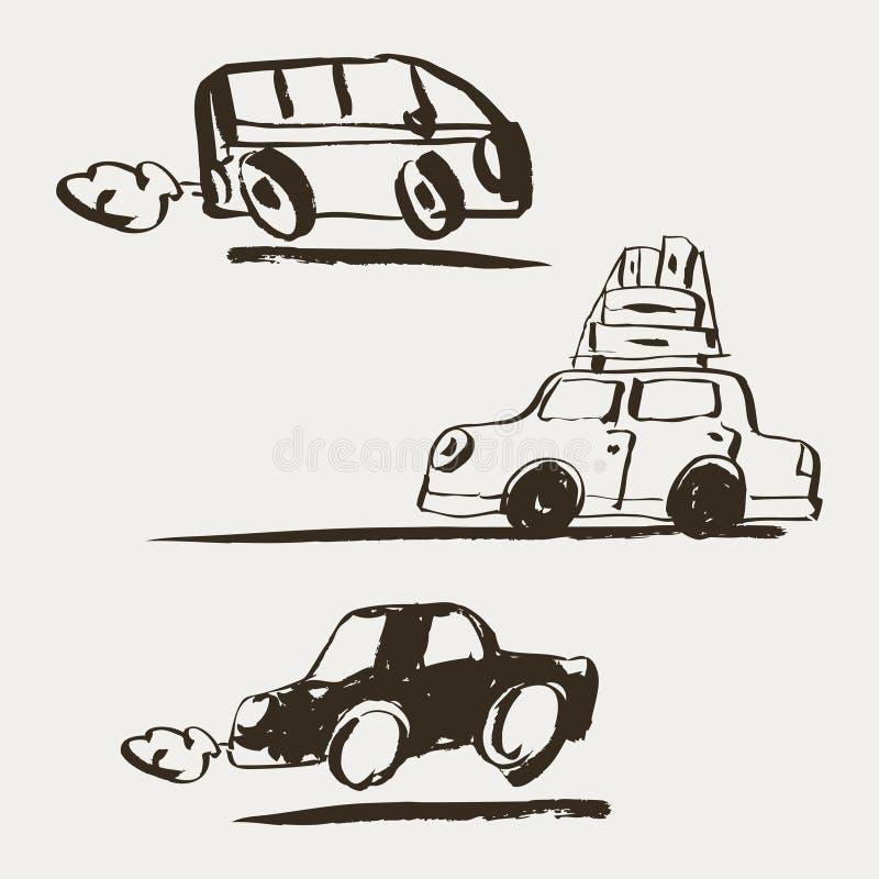 волшебства иллюстрации цвета шарика вектор кристаллического установленный Автомобиль нарисованный рукой ретро который путешествуе иллюстрация вектора
