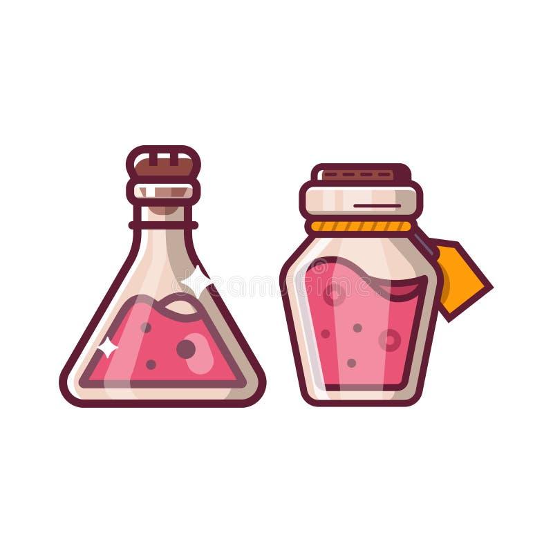 Волшебство зелья разливает значок по бутылкам фантазии иллюстрация вектора