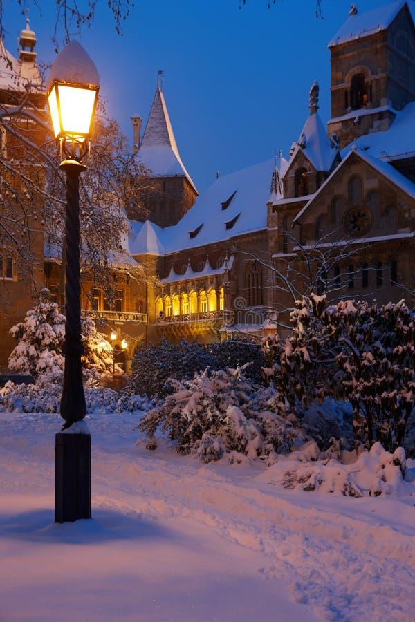 волшебство часа замока снежное стоковое изображение rf