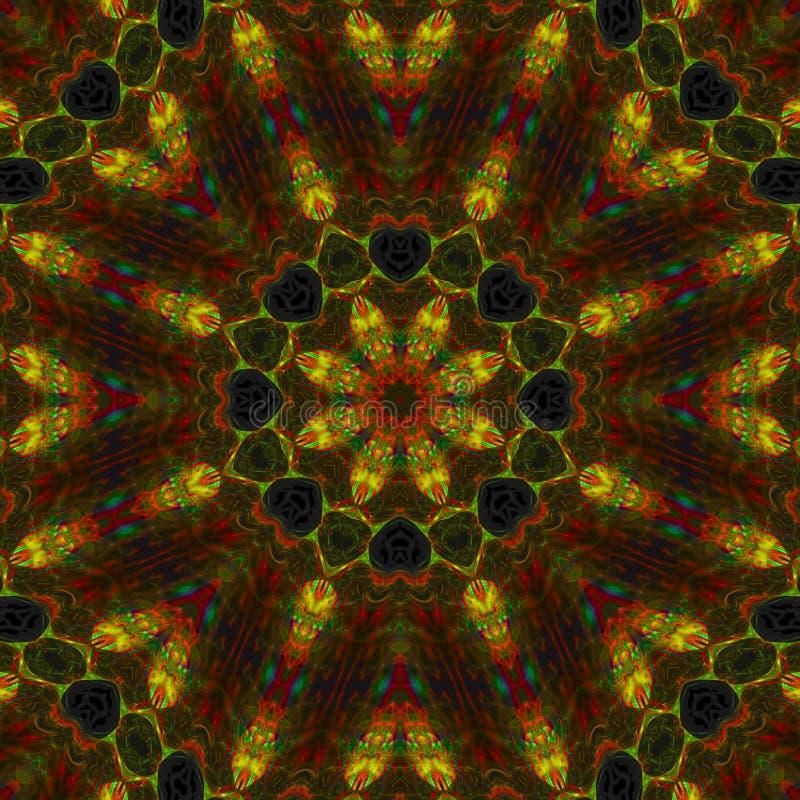 Воображения фантазии энергии мандалы мозаика дизайна влияния цифрового декоративная орнаментирует красочное иллюстрация штока