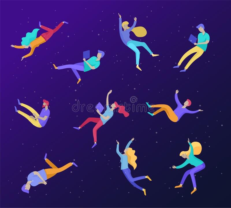 Воодушевленное летание людей в космосе и взаимодействовать с устройствами и бумагами Характеры установили двигать и плавать в меч бесплатная иллюстрация