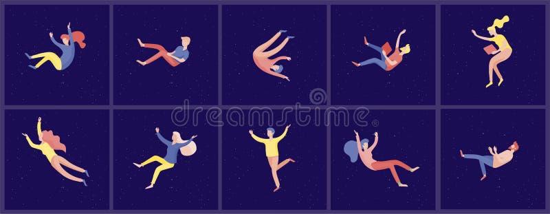 Воодушевленное летание людей в космосе и взаимодействовать с устройствами и бумагами Характеры установили двигать и плавать в меч иллюстрация штока