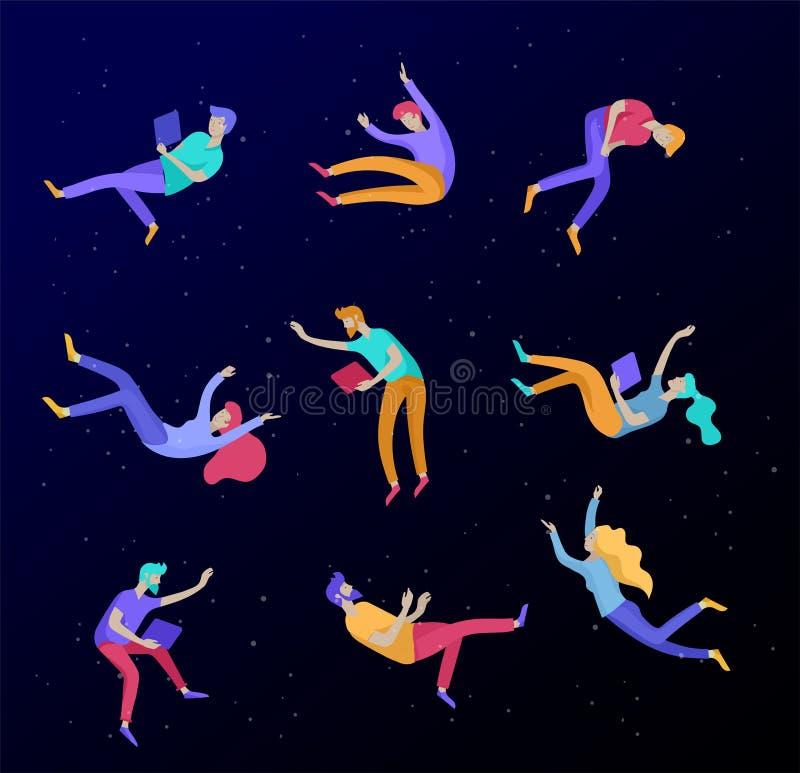 Воодушевленное летание людей в космосе и взаимодействовать с устройствами и бумагами Характеры установили двигать и плавать в меч иллюстрация вектора