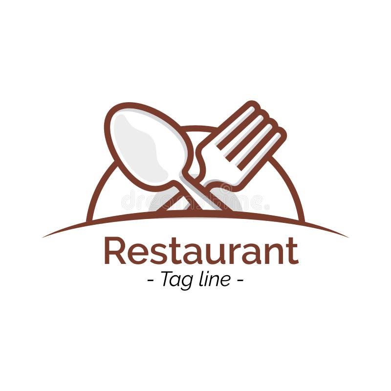 Воодушевленность дизайна значка логотипа кафа ресторана плоская, знамя иллюстрации вектора бесплатная иллюстрация