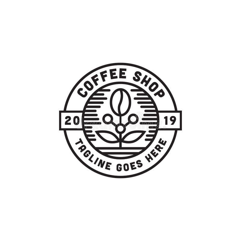 Воодушевленность дизайна логотипа кофейни с линией вектором искусства иллюстрация вектора