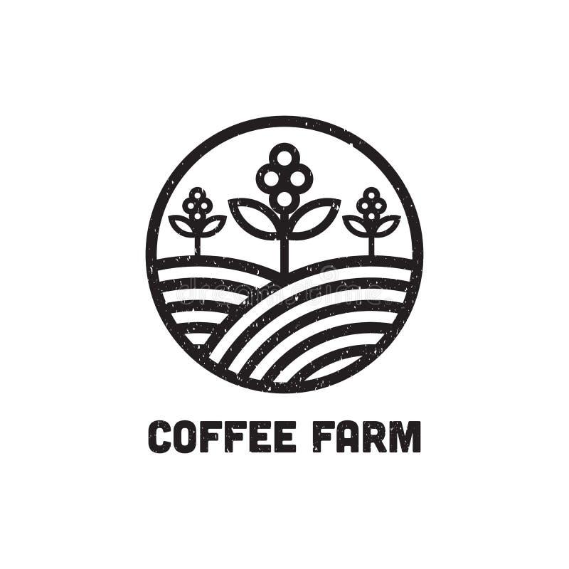 Воодушевленность дизайна логотипа фермы кофе, может используемый шаблон логотипа кафа и бара иллюстрация штока