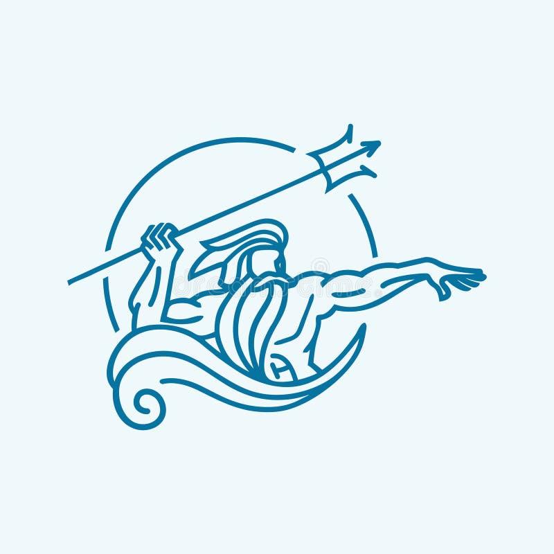Воодушевленность логотипа Poseidon для животного предохранителя, специалиста по охране природы иллюстрация штока