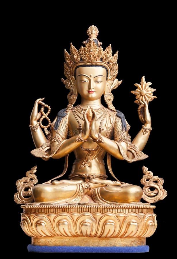 4-вооруженная форма Avalokiteshvara сделала из металла стоковое фото rf
