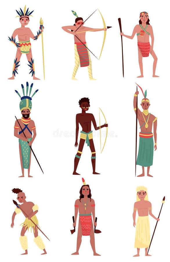Вооруженный комплект местных жителей, американский индеец, африканский член племени, австралийские аборигенные характеры vector и иллюстрация штока